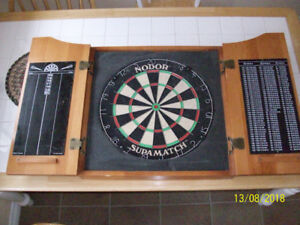 NODOR Dart Board + Cabinet +Darts