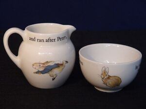 Wedgwood Peter Rabbit Sugar Bowl and Creamer