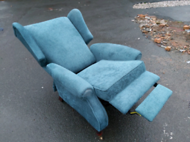Recliner Chair - Quality Extra Comfy Turquoise Fabric Manual Recliner