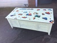 LARGE WOOD TOY BOY BLANKET BOX SHABBY CHIC PROJECT ** FREE DELIVERY AVAILABLE TONIGHT **