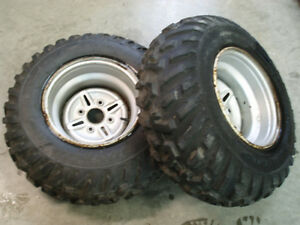 2 ATV TIRES  NEW DUNLOPS ON USED YAMAHA BIG BEAR KODIAK RIMS