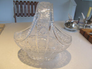 VINTAGE-QUEEN LACE- 24% LEAD-HAND CUT-CRYSTAL BASKET-PRISTINE