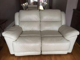 Cream Leather double recliner sofa