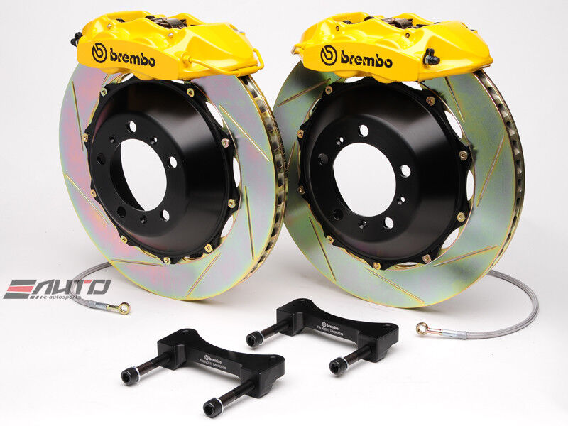 Brembo Rear Gt Brake 4pot Caliper Yellow 345x28 Slot Rotor For G35 350z Fairlady