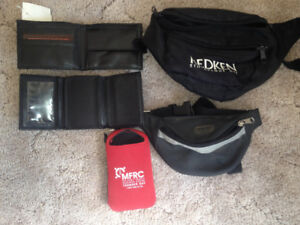 2 WALLETS,2-FANNY PACKS,1 CELL PHONE,$HOLDER KEYCHAIN.