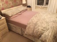 Double divan bed base and headboard