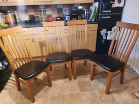 Tall wooden dining chairs x4
