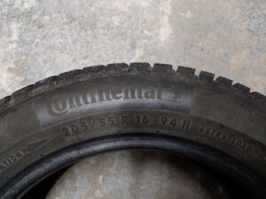 Selling used Continental Winter Contact SI tires (205/55R16 94H)