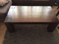 Mango wood coffee table and 2 side nest tables