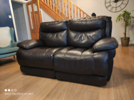 Two seater leather recliner sofa