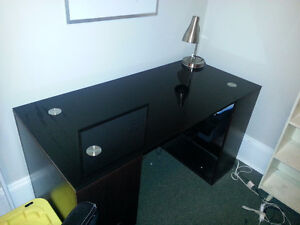 Black Glass-top Desk and Office Chair ~combo~