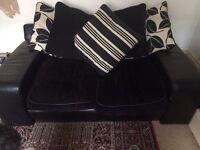 Black leather fabric 2 seat sofa plus pouffe