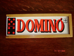 Vintage Wooden Domino Set in Wood Storage Box by Estrela 1973