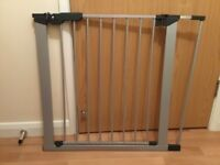Silver and black stair gate - fits wider stairs as well as standard size
