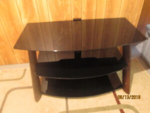 tv stand, black glass with wood legs