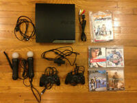 PS3 Playstation 3 160G 4 Games/Jeux 2 Controllers/Manettes Move