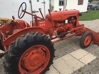 1953 AC tractor with snow blade and chains