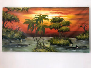 GREAT VILLAGE RIVER AFRICAN PAINTING - LARGE