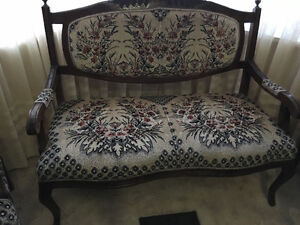 Antique love seat and two chairs