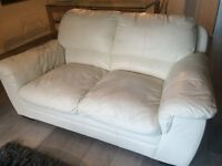 Off White leather sofa suite