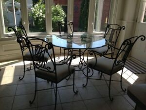 Bombay Company Dining Set, round glass table with 5 chairs