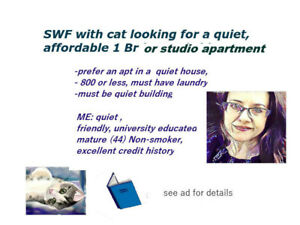 Quiet affordable apartment wanted for mature female and cat $700