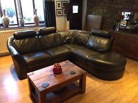 Brown Leather Corner Sofa With Removable Headrests Good Condition