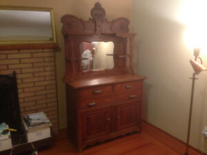 ANTIQUE BUFFET WITH MIRROR HUTCH