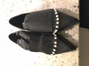 Black Leather Flats with Pearls for Sale