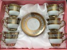 ELEGANT ESPRESSO VERSACE 6 COFFEE CUP AND SAUCER SET - GOLD Sydney City Inner Sydney Preview