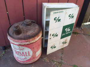 Vintage Shop Cabinet and Kendall Lubricant Drum