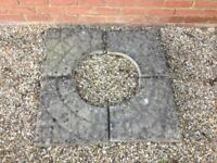 Four weathered corner garden decorative paving slabs