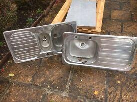 Two steel kitchen sinks £5 each