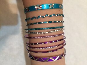 Bracelets in blues and purples