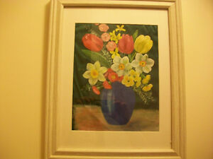 Framed Vase with flowers oil painting on silk