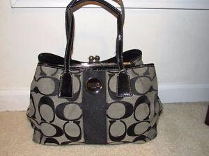 Coach Signature Stripe Framed Carryall Handbag # F17424 Authenti