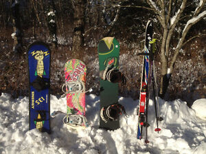 Kid's Skis with bindings, Snowboards, Boots, Poles