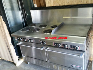 "POELE 60""  6 RONDS AVEC PLAQUE  6 BURNER WITH GRIDDLE STOVE OVEN"