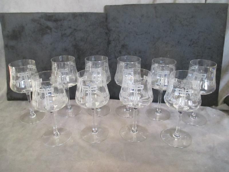 Antique Cut Glass Wine or Water 10 Goblets - Garland Art Deco Pattern ksb2