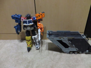 Transformers Energon Optimus Prime with Trailer and 4 bots Loose