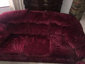 Red velvet 3 seater sofa and 2 armchairs never used