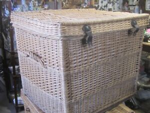 2 OLD 1950s WICKER STORAGE TRUNKS $80. EACH CABIN HOME DECOR