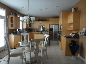 Maple Kitchen Cabinets, Island Countertop. Appliances as well.
