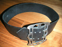 Thick black leather belt - punk look / brown mex. braided