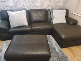 Real leather sofa and footstool...