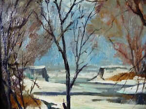 """Original Oil Painting, H. Oswald Stacey  OCA """"January Thaw"""" 1945 Stratford Kitchener Area image 7"""