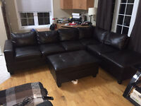 Large Brown Leather Sectional Couch with Padded Chest Foot Rest