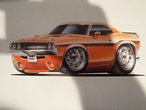 1970 - 71 Dodge Challenger R/T HEMI Orange Wall Art Picture 11""