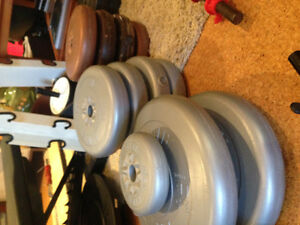 Standard plate wieghts, 2 bars and 3 dumbells with locks London Ontario image 4