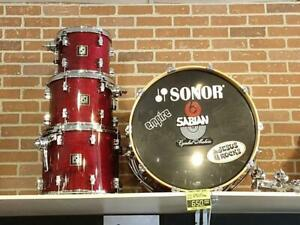 Sonor force 3003 Maple-Basswood Shell kit drum-Batterie 10-12-14-22 Érable, Rouge - used-usagée